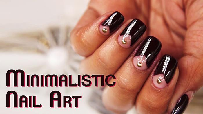Minimalistic Nail Art Studded Nail Art Design