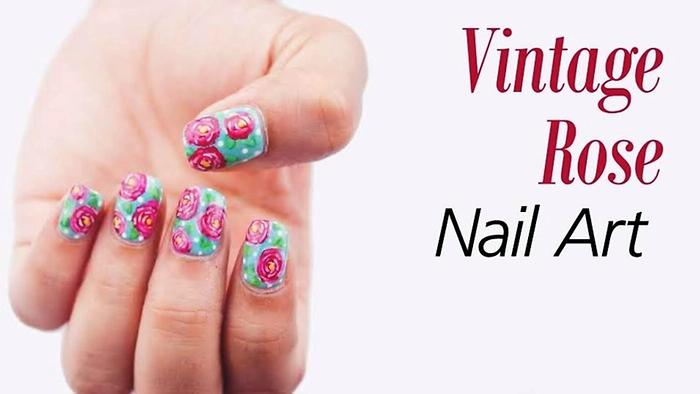 Vintage Rose Nail Art Tutorial Sonal Sagaraya