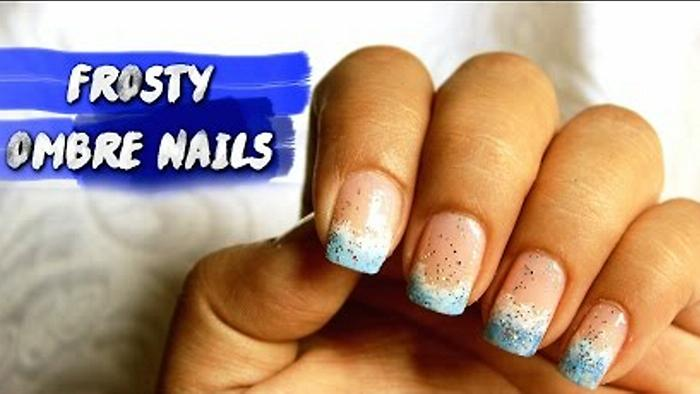Frosty Ombre Nails Winter Nail Art