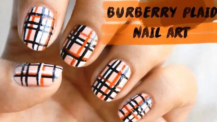 Burberry Plaid Nail Art Striped Nail Art superWOWstyle