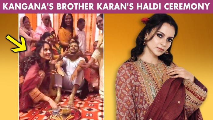 Kangana Ranaut Enjoys Brother Karans Haldi Function With Family Borrows Jewellery From Mother