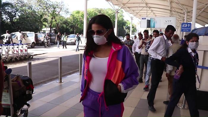 Sara Ali Khan Spotted At Domestic Airport