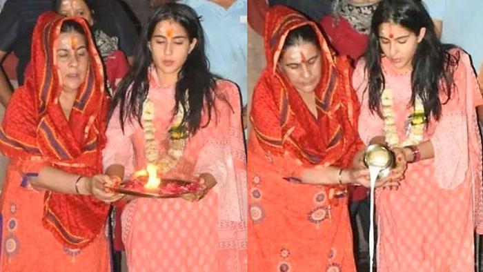 Sara Ali Khan Performs Ganga Aarti With Mom Amrita Singh In Varanasi Banaras Tour