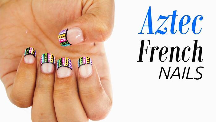 Aztec French Tip Nail Art BLUSH